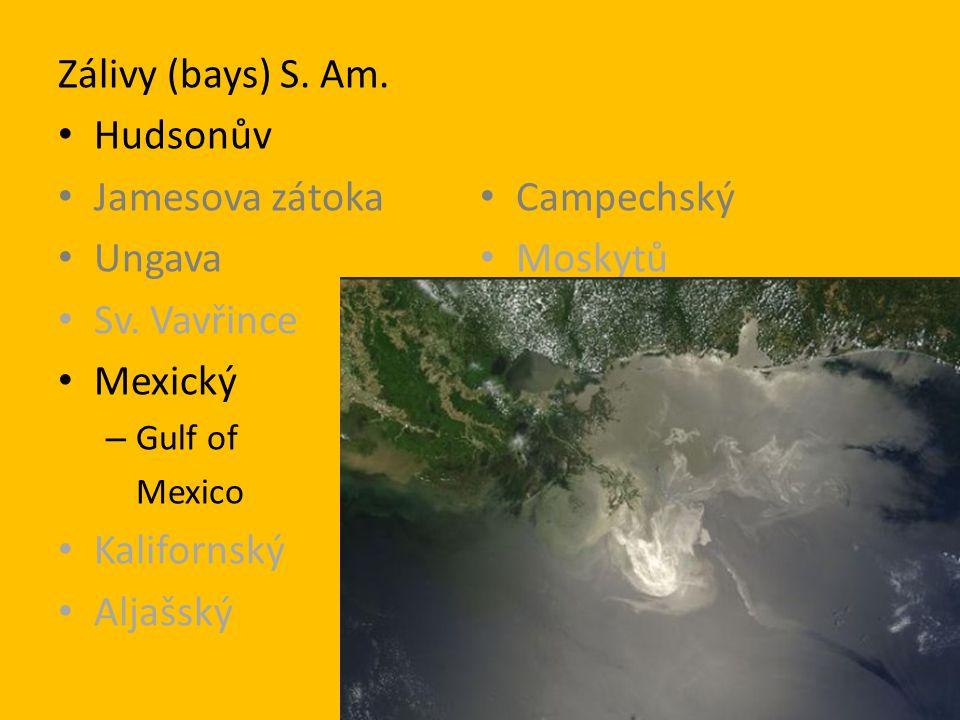 Zálivy (bays) S. Am. Hudsonův Jamesova zátoka Ungava Sv. Vavřince Mexický – Gulf of Mexico Kalifornský Aljašský Campechský Moskytů