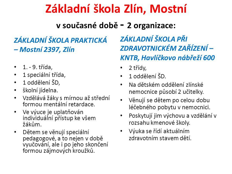 Základní škola Zlín, Mostní v současné době - 2 organizace: ZÁKLADNÍ ŠKOLA PRAKTICKÁ – Mostní 2397, Zlín 1.