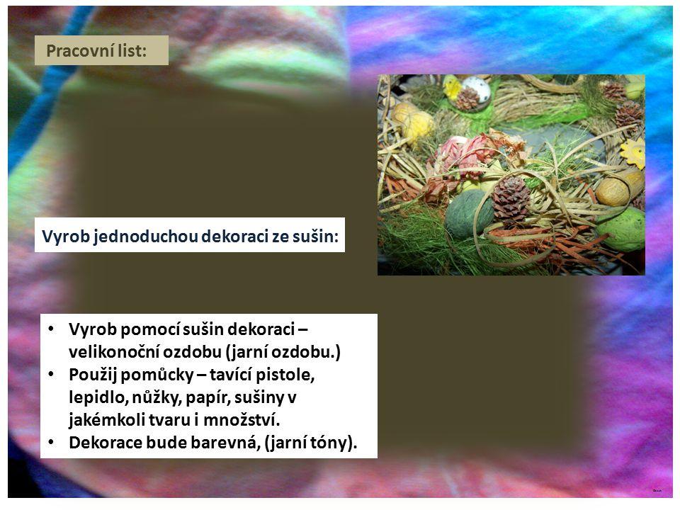©c.zuk Pracovní list: Vyrob jednoduchou dekoraci ze sušin: Vyrob pomocí sušin dekoraci – velikonoční ozdobu (jarní ozdobu.) Použij pomůcky – tavící pistole, lepidlo, nůžky, papír, sušiny v jakémkoli tvaru i množství.