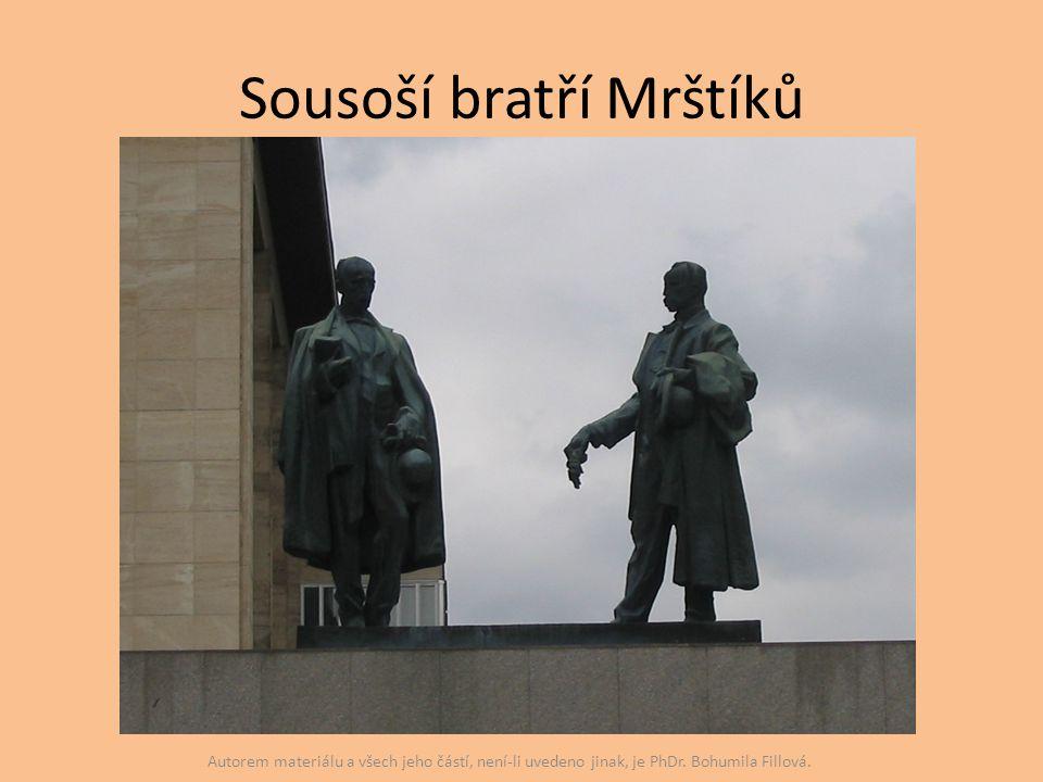 Sousoší bratří Mrštíků Autorem materiálu a všech jeho částí, není-li uvedeno jinak, je PhDr. Bohumila Fillová.