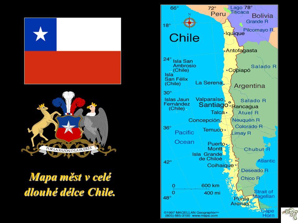 Mapa měst v celé dlouhé délce Chile.