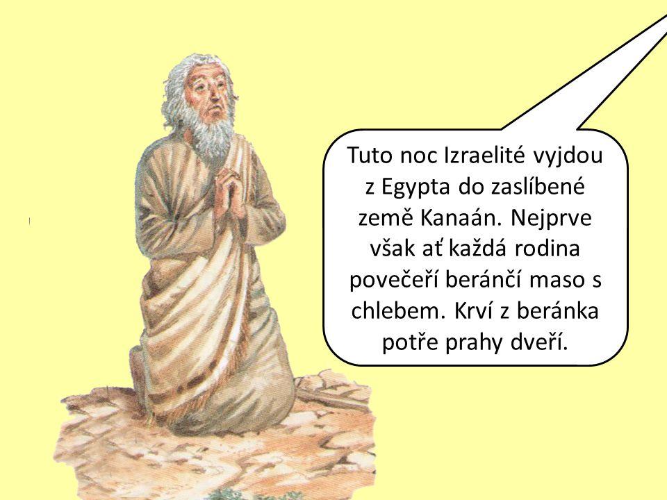 Tuto noc Izraelité vyjdou z Egypta do zaslíbené země Kanaán. Nejprve však ať každá rodina povečeří beránčí maso s chlebem. Krví z beránka potře prahy