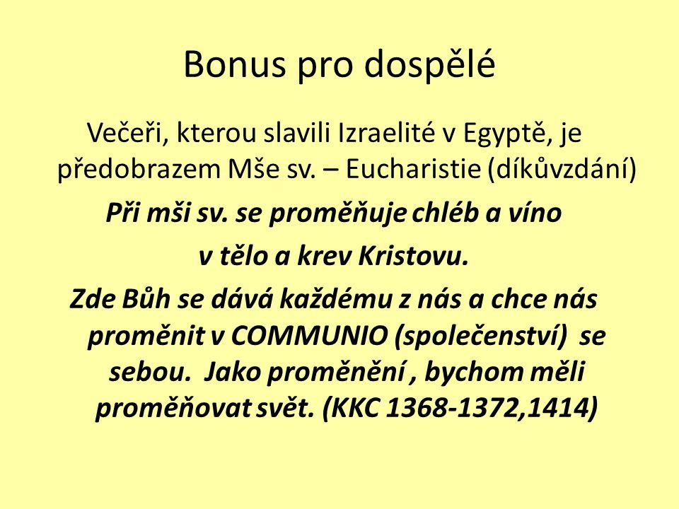 Bonus pro dospělé Večeři, kterou slavili Izraelité v Egyptě, je předobrazem Mše sv. – Eucharistie (díkůvzdání) Při mši sv. se proměňuje chléb a víno v