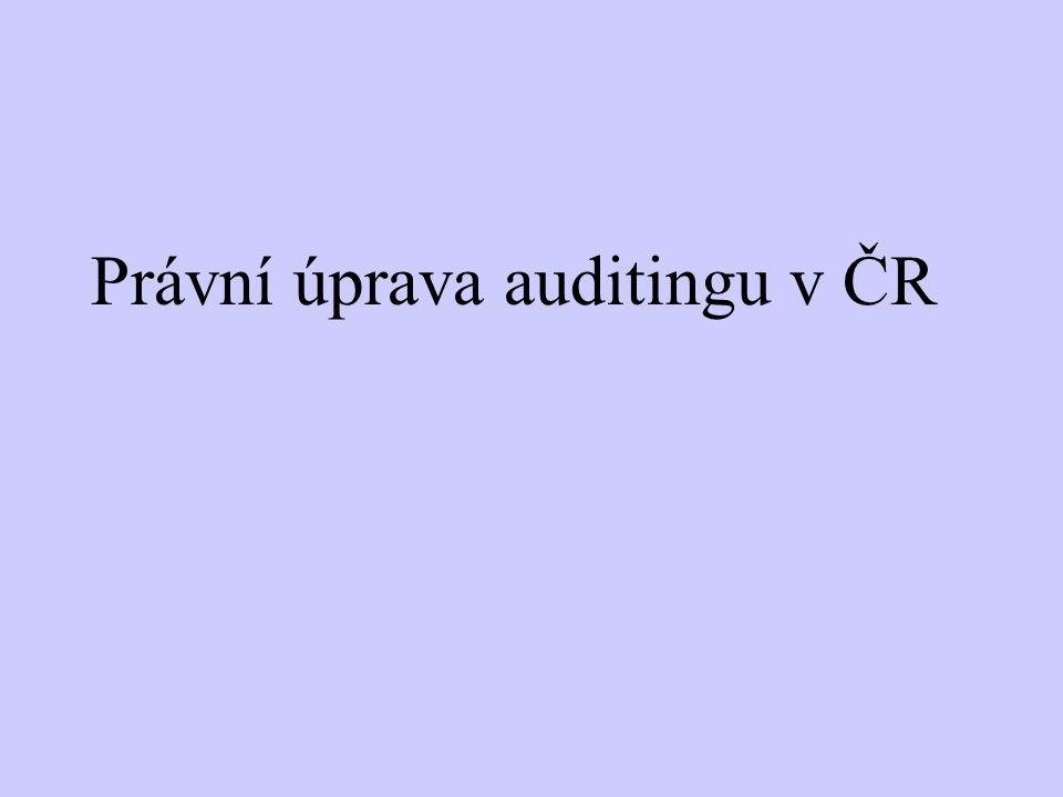 Obory - pokračování Provádění auditu a profesní znalosti Právní požadavky a profesní standardy vztahující se k auditu a auditorům Mezinárodní auditorské standardy Profesní etika a nezávislost