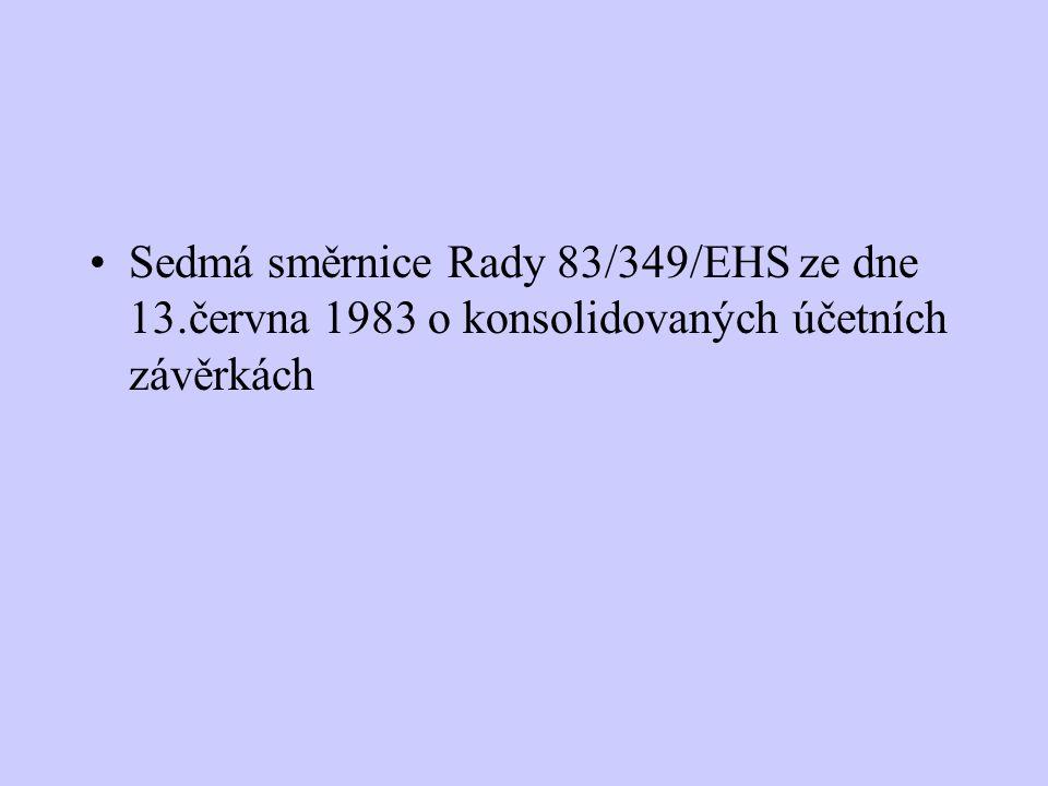 Sedmá směrnice Rady 83/349/EHS ze dne 13.června 1983 o konsolidovaných účetních závěrkách