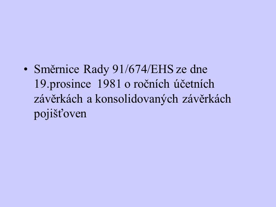 Směrnice Rady 91/674/EHS ze dne 19.prosince 1981 o ročních účetních závěrkách a konsolidovaných závěrkách pojišťoven