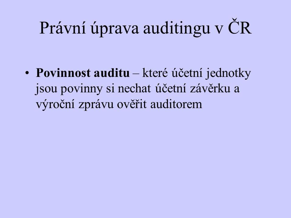 Právní úprava auditingu v ČR Zákon o účetnictví -individuální účetní závěrka § 20 -konsolidovaná účetní závěrka § 22