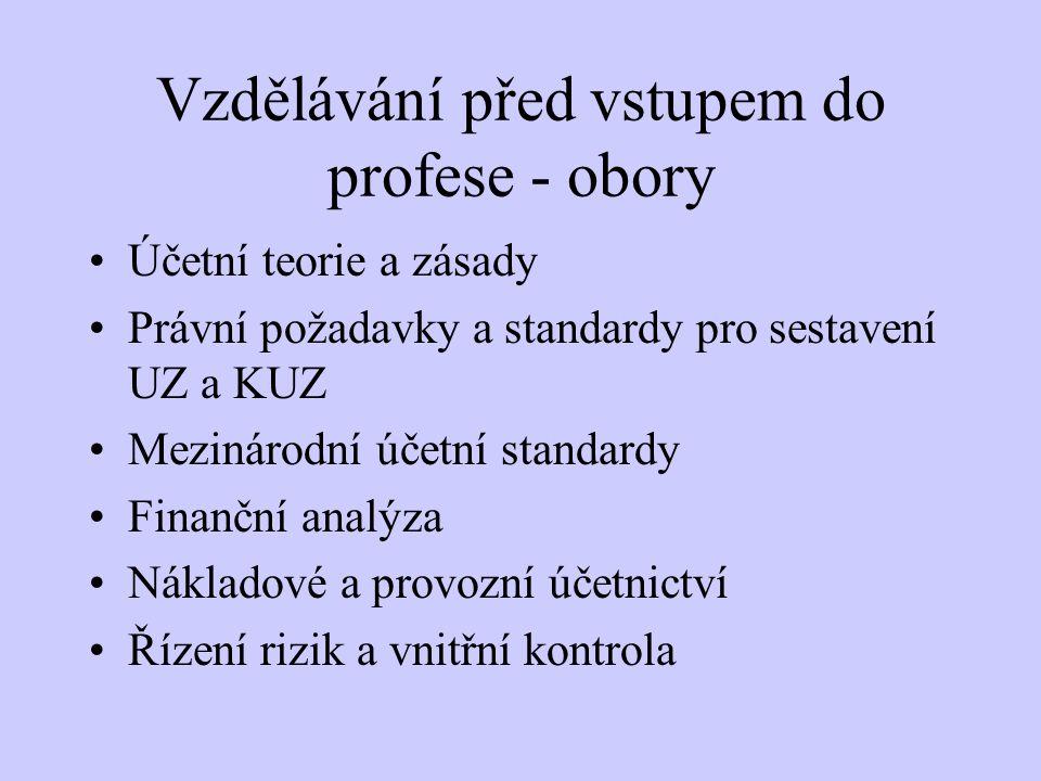 Vzdělávání před vstupem do profese - obory Účetní teorie a zásady Právní požadavky a standardy pro sestavení UZ a KUZ Mezinárodní účetní standardy Fin