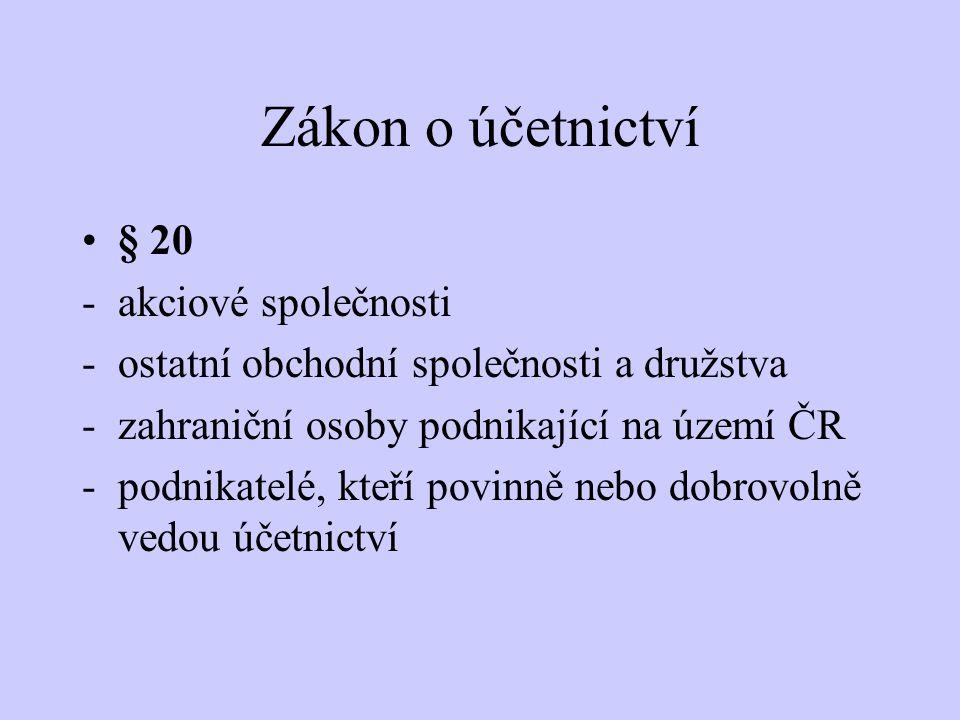 Zákon o účetnictví § 20 -akciové společnosti -ostatní obchodní společnosti a družstva -zahraniční osoby podnikající na území ČR -podnikatelé, kteří po