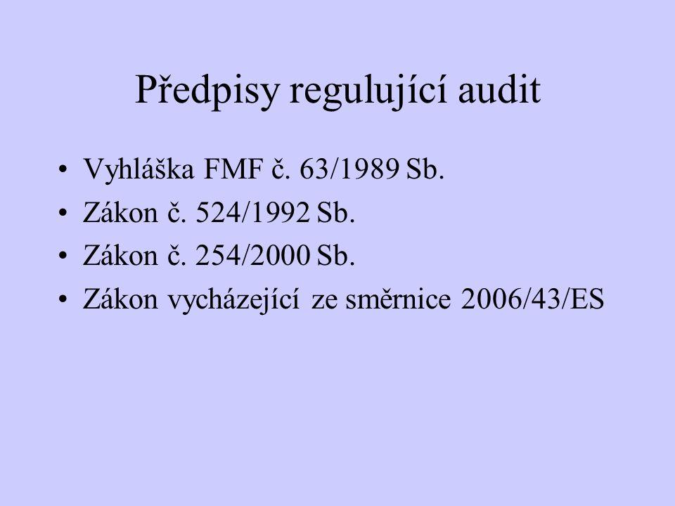 Předpisy regulující audit Vyhláška FMF č. 63/1989 Sb. Zákon č. 524/1992 Sb. Zákon č. 254/2000 Sb. Zákon vycházející ze směrnice 2006/43/ES