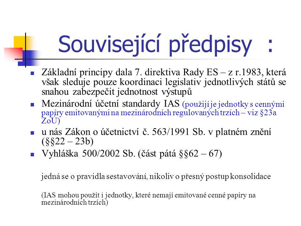 Související předpisy : Základní principy dala 7. direktiva Rady ES – z r.1983, která však sleduje pouze koordinaci legislativ jednotlivých států se sn