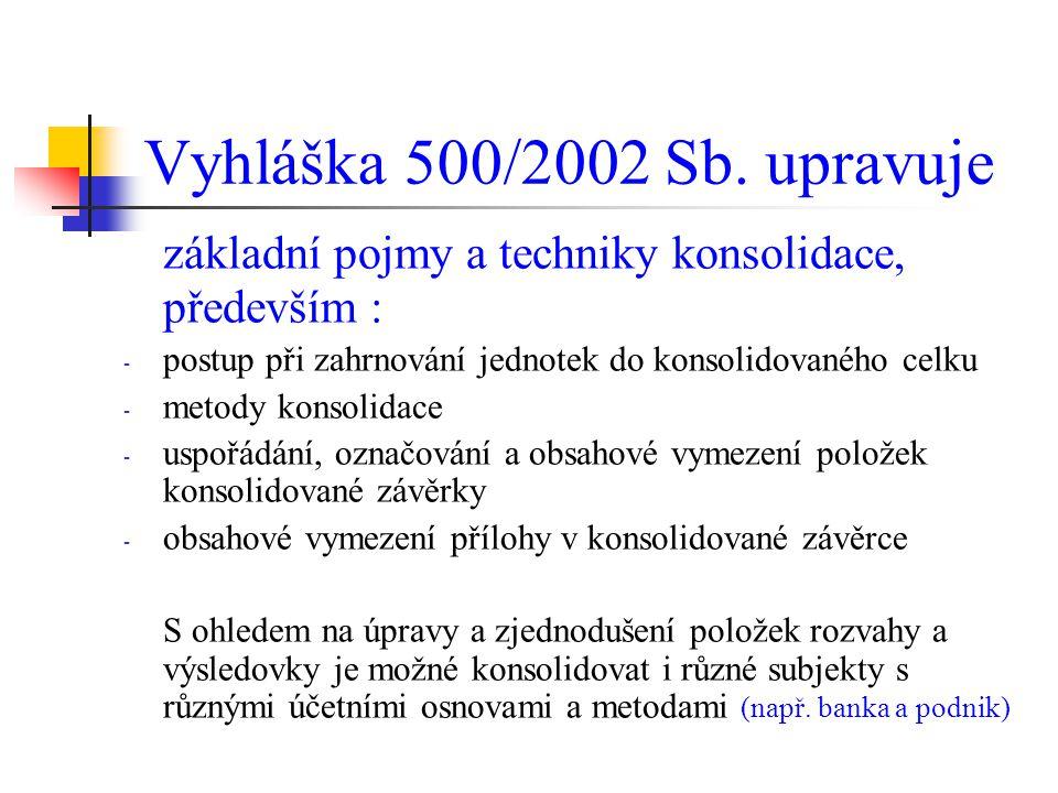Vyhláška 500/2002 Sb. upravuje základní pojmy a techniky konsolidace, především : - postup při zahrnování jednotek do konsolidovaného celku - metody k