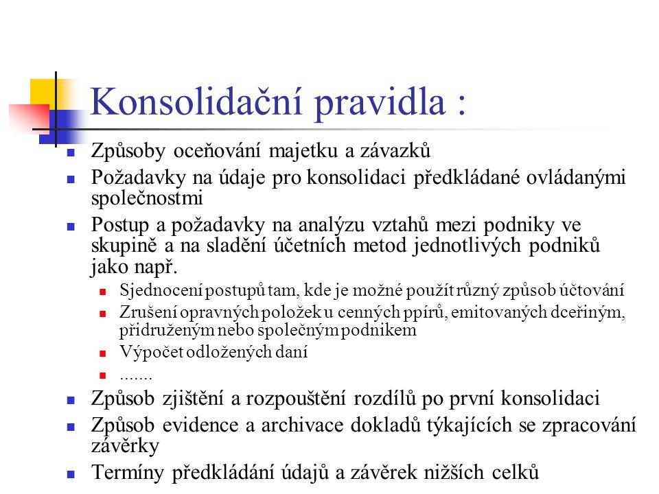Konsolidační pravidla : Způsoby oceňování majetku a závazků Požadavky na údaje pro konsolidaci předkládané ovládanými společnostmi Postup a požadavky