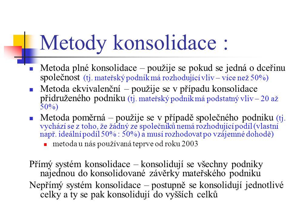 Metody konsolidace : Metoda plné konsolidace – použije se pokud se jedná o dceřinu společnost (tj. mateřský podnik má rozhodující vliv – více než 50%)