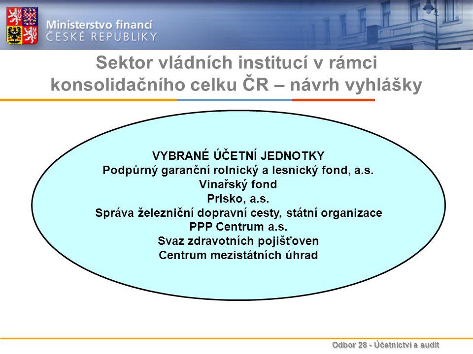 Odbor 28 - Účetnictví a audit Sektor vládních institucí v rámci konsolidačního celku ČR – návrh vyhlášky VYBRANÉ ÚČETNÍ JEDNOTKY Podpůrný garanční rol