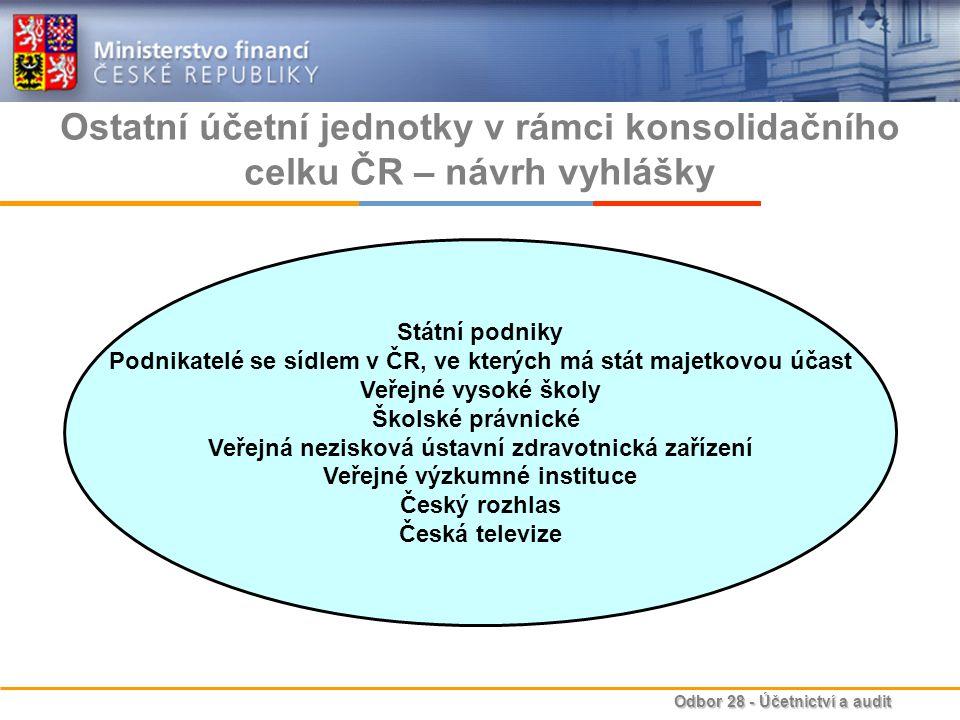Odbor 28 - Účetnictví a audit Ostatní účetní jednotky v rámci konsolidačního celku ČR – návrh vyhlášky Státní podniky Podnikatelé se sídlem v ČR, ve k