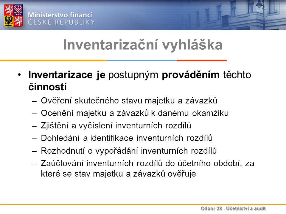 Odbor 28 - Účetnictví a audit Inventarizační vyhláška Inventarizace je postupným prováděním těchto činností –Ověření skutečného stavu majetku a závazk