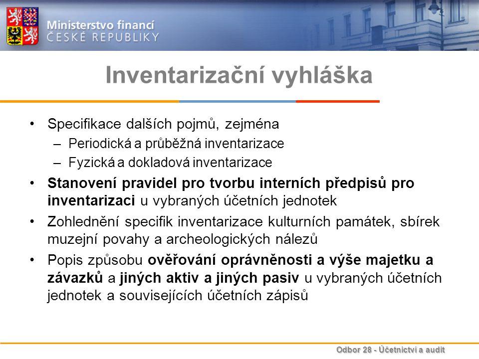 Odbor 28 - Účetnictví a audit Inventarizační vyhláška Specifikace dalších pojmů, zejména –Periodická a průběžná inventarizace –Fyzická a dokladová inv