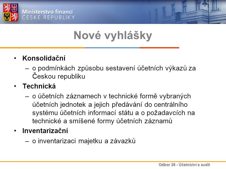 Odbor 28 - Účetnictví a audit Nové vyhlášky Konsolidační –o podmínkách způsobu sestavení účetních výkazů za Českou republiku Technická –o účetních záz