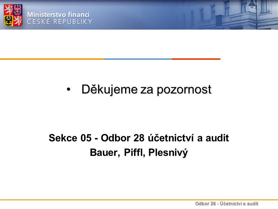 Odbor 28 - Účetnictví a audit Děkujeme za pozornostDěkujeme za pozornost Sekce 05 - Odbor 28 účetnictví a audit Bauer, Piffl, Plesnivý