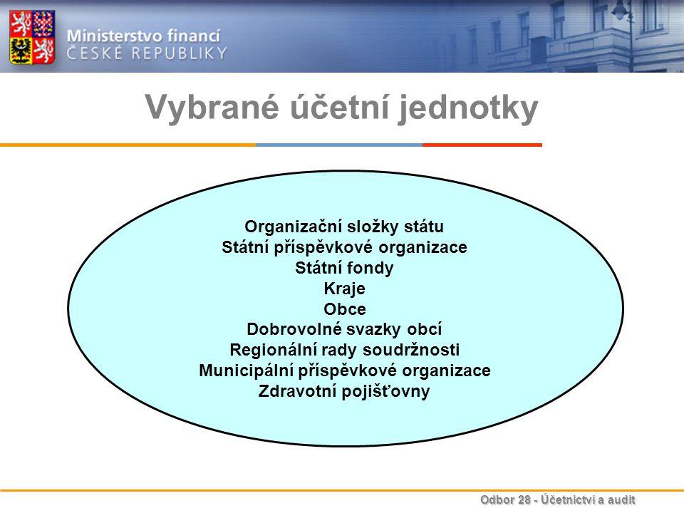 Odbor 28 - Účetnictví a audit Vybrané účetní jednotky Organizační složky státu Státní příspěvkové organizace Státní fondy Kraje Obce Dobrovolné svazky