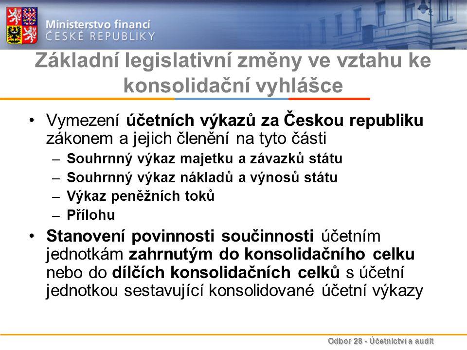 Odbor 28 - Účetnictví a audit Základní legislativní změny ve vztahu ke konsolidační vyhlášce Vymezení účetních výkazů za Českou republiku zákonem a je