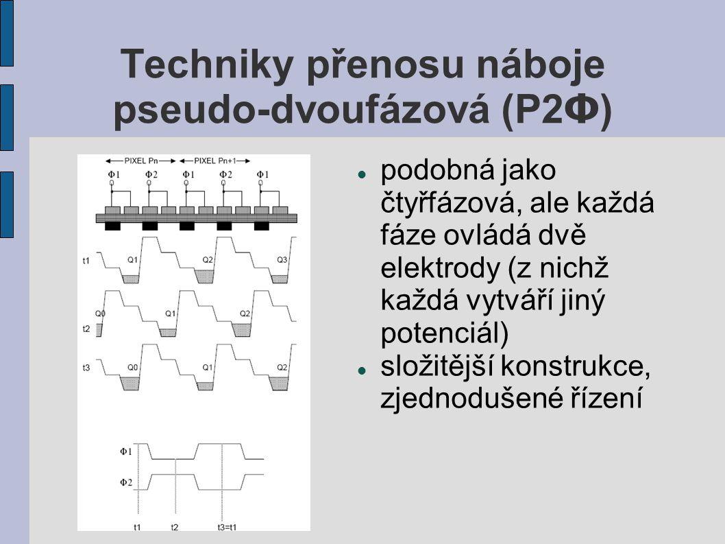 Techniky přenosu náboje pseudo-dvoufázová (P2 Φ ) podobná jako čtyřfázová, ale každá fáze ovládá dvě elektrody (z nichž každá vytváří jiný potenciál)