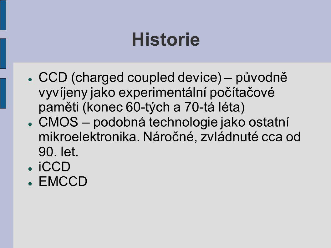 Historie CCD (charged coupled device) – původně vyvíjeny jako experimentální počítačové paměti (konec 60-tých a 70-tá léta) CMOS – podobná technologie