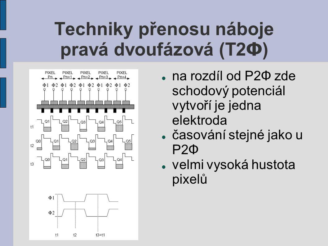 Techniky přenosu náboje pravá dvoufázová (T2 Φ ) na rozdíl od P2 Φ zde schodový potenciál vytvoří je jedna elektroda časování stejné jako u P2 Φ velmi