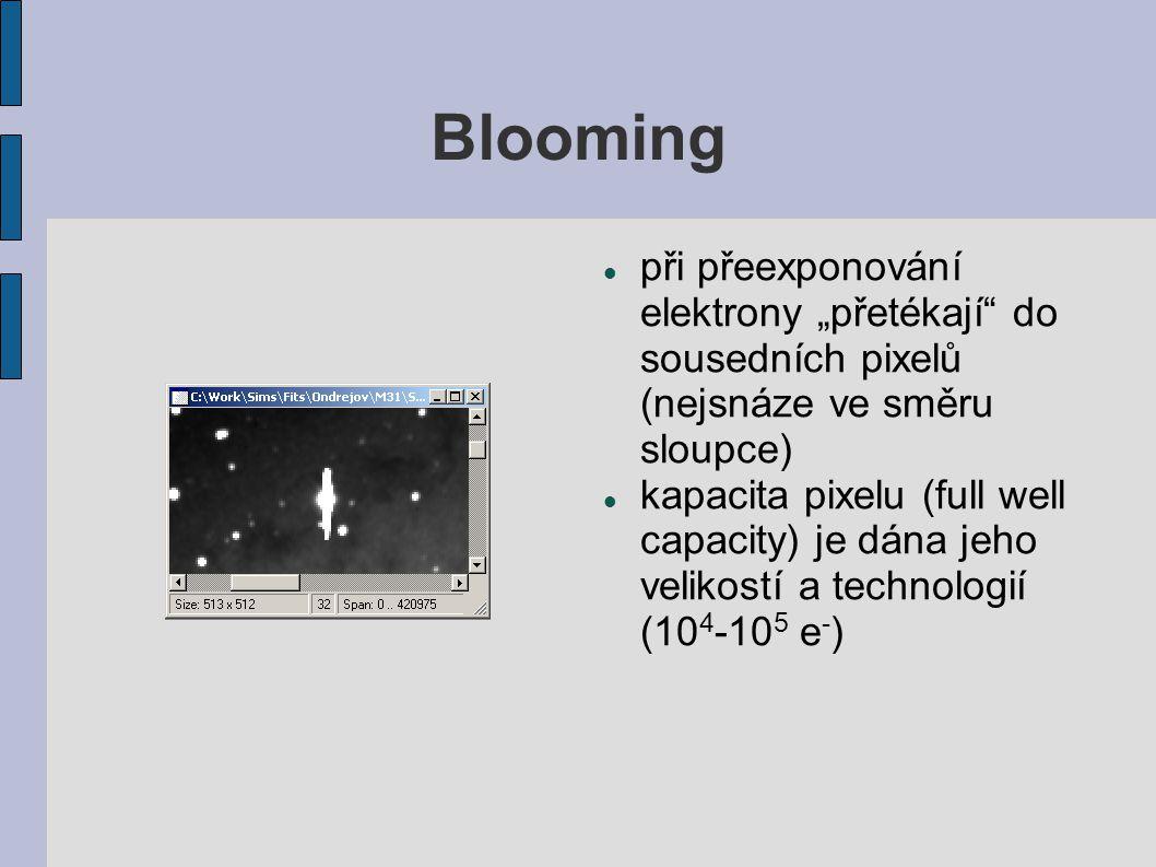 """Blooming při přeexponování elektrony """"přetékají"""" do sousedních pixelů (nejsnáze ve směru sloupce) kapacita pixelu (full well capacity) je dána jeho ve"""