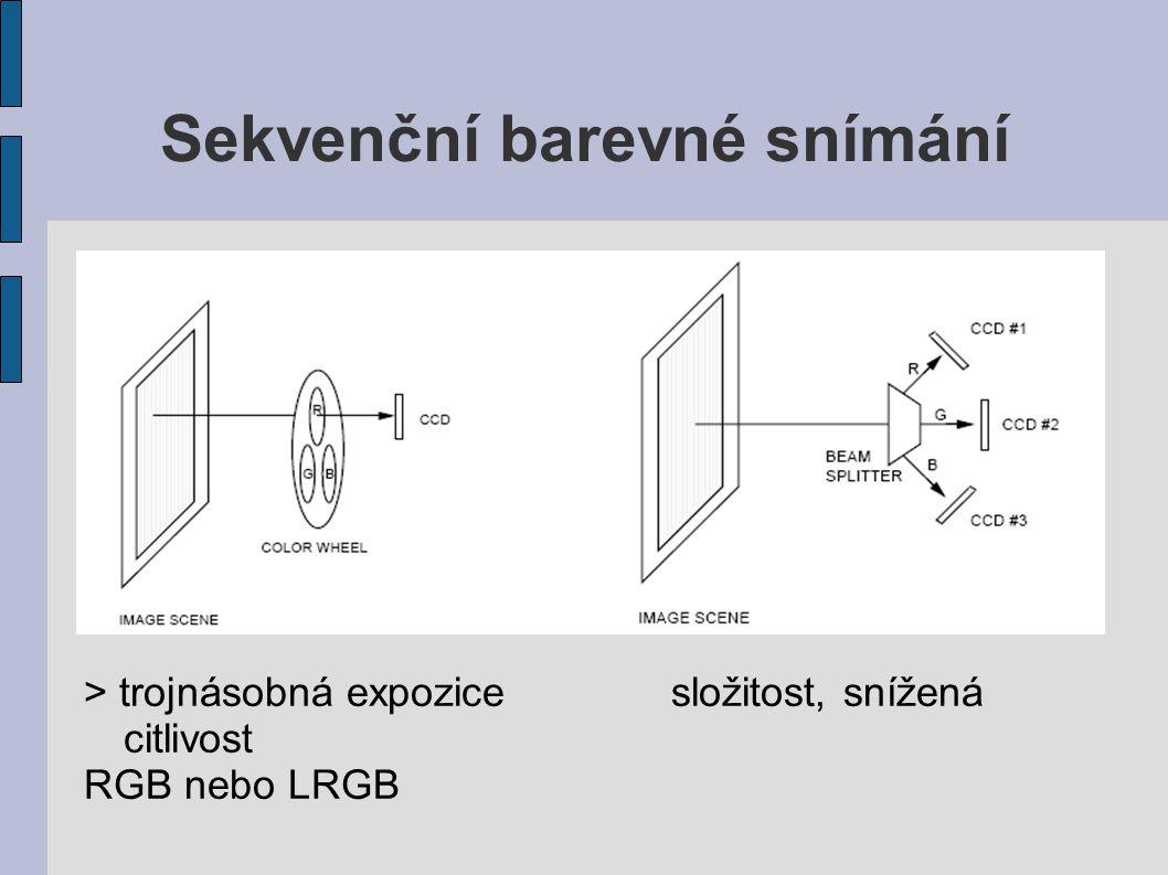 Sekvenční barevné snímání > trojnásobná expozicesložitost, snížená citlivost RGB nebo LRGB