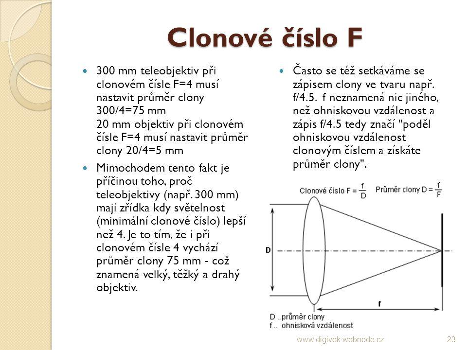 Clonové číslo F 300 mm teleobjektiv při clonovém čísle F=4 musí nastavit průměr clony 300/4=75 mm 20 mm objektiv při clonovém čísle F=4 musí nastavit