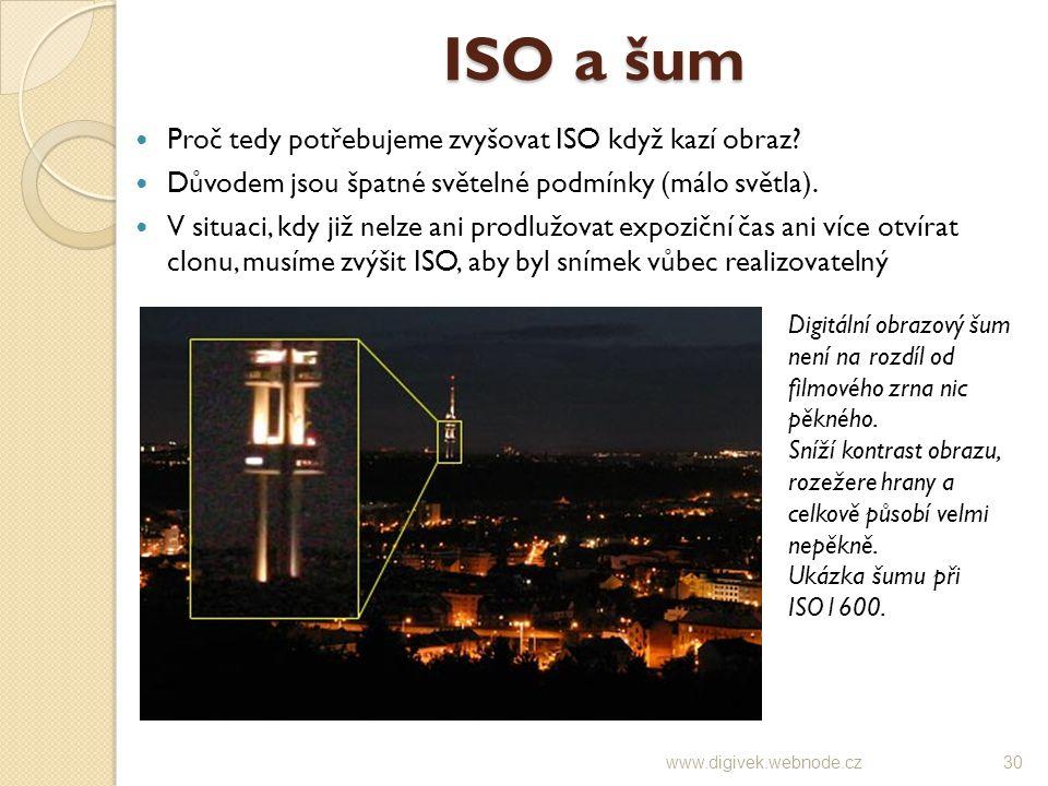 ISO a šum Proč tedy potřebujeme zvyšovat ISO když kazí obraz? Důvodem jsou špatné světelné podmínky (málo světla). V situaci, kdy již nelze ani prodlu