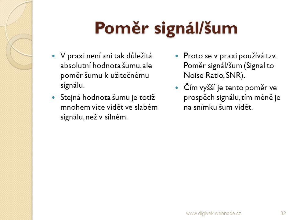 Poměr signál/šum V praxi není ani tak důležitá absolutní hodnota šumu, ale poměr šumu k užitečnému signálu. Stejná hodnota šumu je totiž mnohem více v