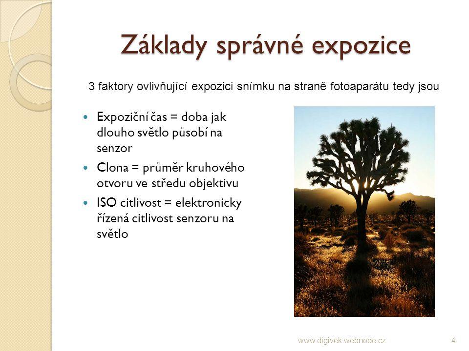 Expoziční čas (čas závěrky) Expoziční čas je doba, jak dlouho světlo působí na senzor.