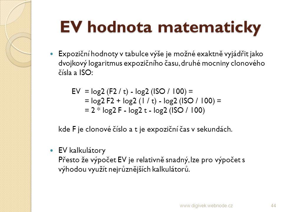 EV hodnota matematicky Expoziční hodnoty v tabulce výše je možné exaktně vyjádřit jako dvojkový logaritmus expozičního času, druhé mocniny clonového č