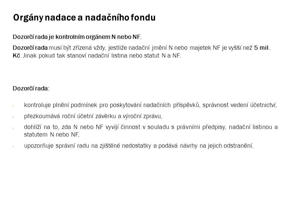 Orgány nadace a nadačního fondu Dozorčí rada je kontrolním orgánem N nebo NF.