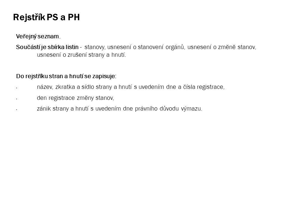 Rejstřík PS a PH Veřejný seznam. Součástí je sbírka listin - stanovy, usnesení o stanovení orgánů, usnesení o změně stanov, usnesení o zrušení strany