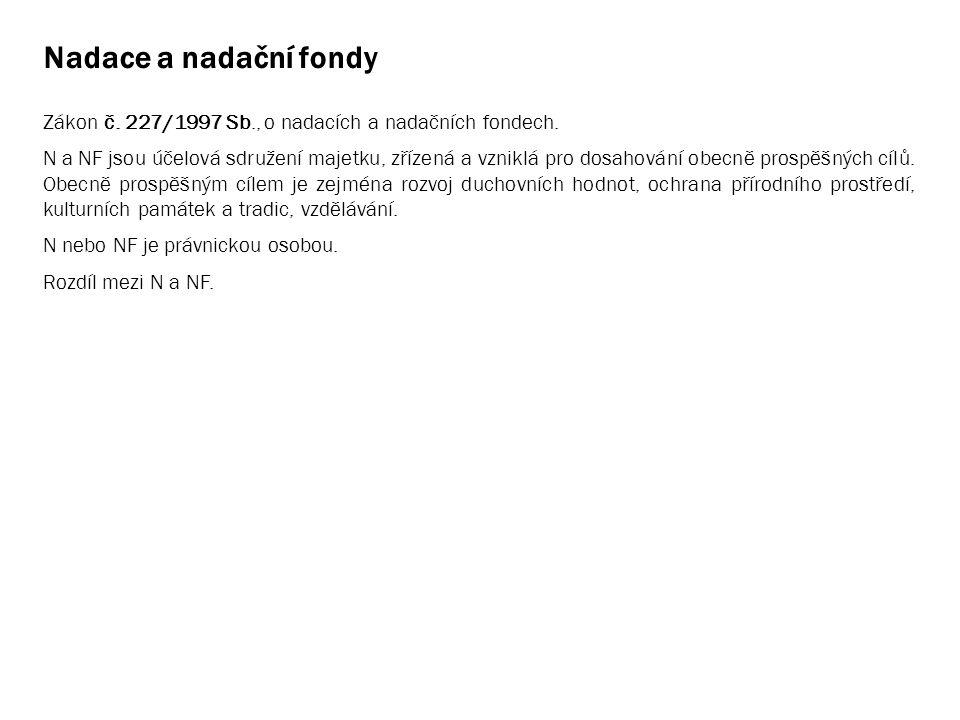 Nadace a nadační fondy Zákon č. 227/1997 Sb., o nadacích a nadačních fondech. N a NF jsou účelová sdružení majetku, zřízená a vzniklá pro dosahování o