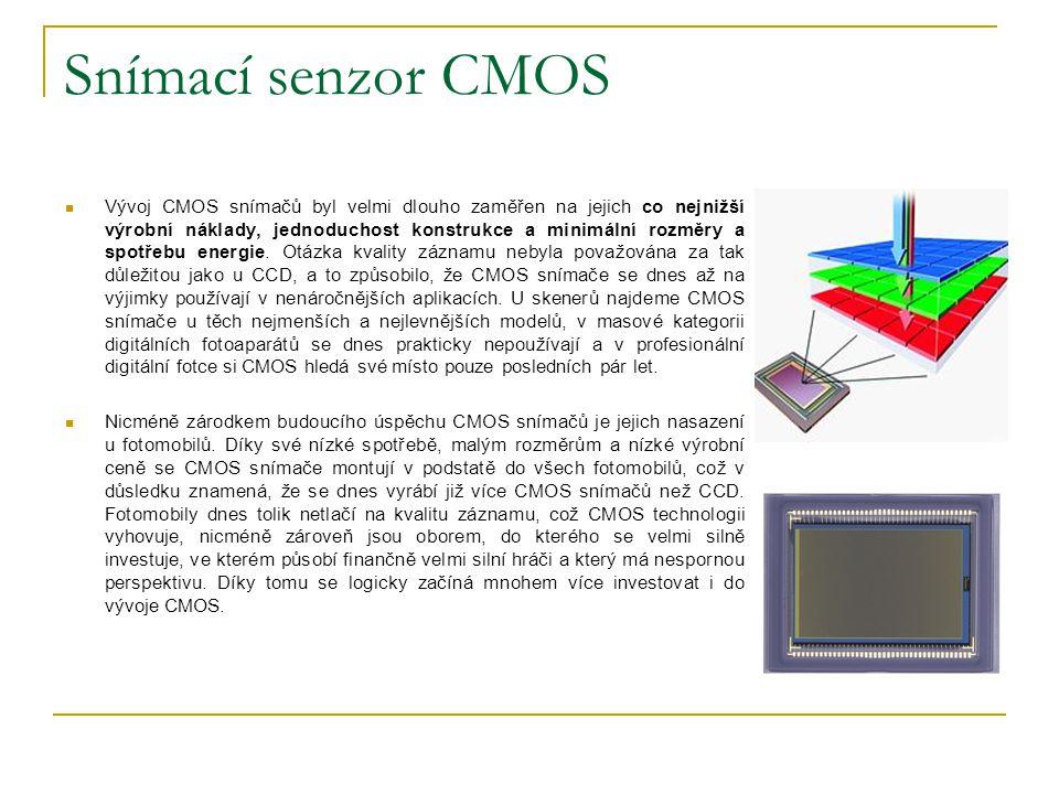 Snímací senzor CMOS Vývoj CMOS snímačů byl velmi dlouho zaměřen na jejich co nejnižší výrobní náklady, jednoduchost konstrukce a minimální rozměry a s