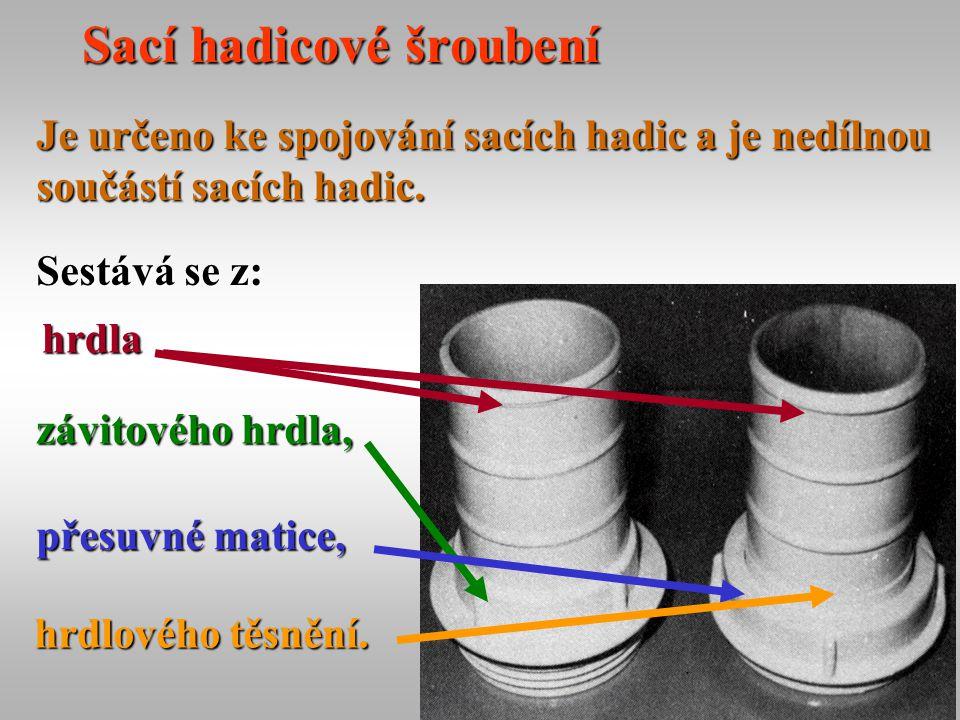 24 Sací hadicové šroubení Je určeno ke spojování sacích hadic a je nedílnou součástí sacích hadic. Sestává se z: závitového hrdla, přesuvné matice, hr