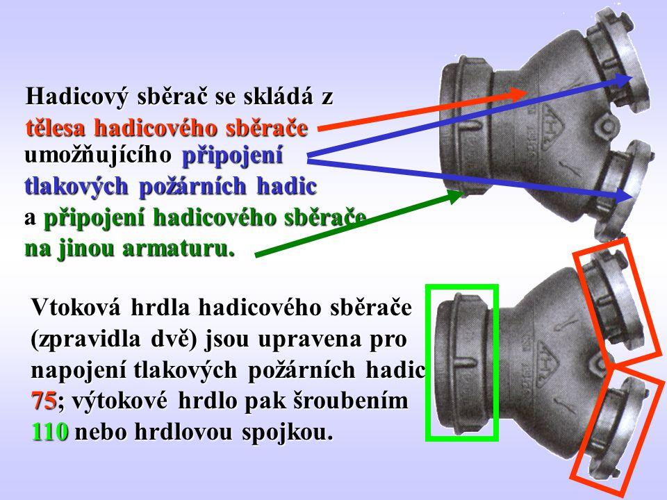 50 Hadicový sběrač se skládá z tělesa hadicového sběrače umožňujícího připojení tlakových požárních hadic a připojení hadicového sběrače na jinou arma
