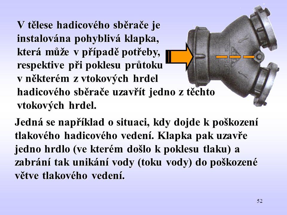 52 V tělese hadicového sběrače je instalována pohyblivá klapka, která může v případě potřeby, respektive při poklesu průtoku v některém z vtokových hr