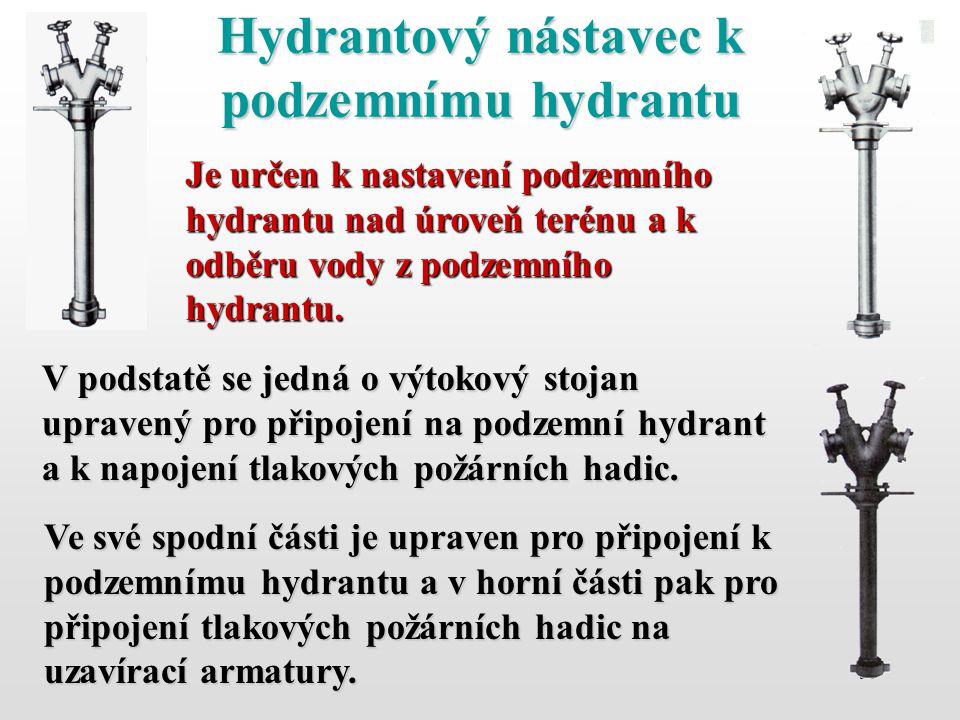55 Hydrantový nástavec k podzemnímu hydrantu Je určen k nastavení podzemního hydrantu nad úroveň terénu a k odběru vody z podzemního hydrantu. V podst
