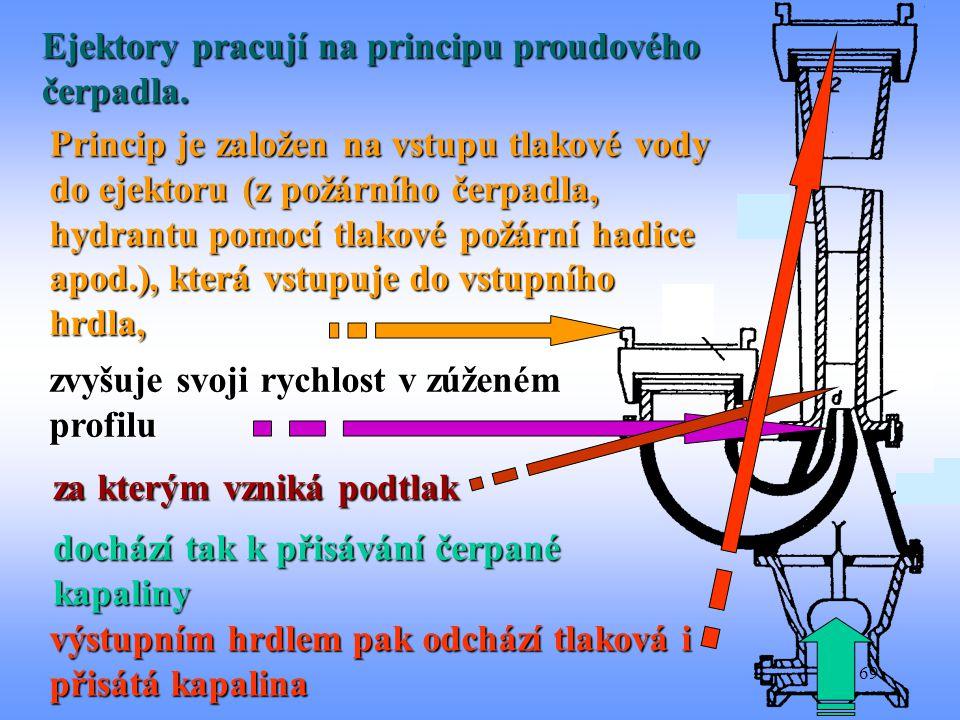 69 Ejektory pracují na principu proudového čerpadla. Princip je založen na vstupu tlakové vody do ejektoru (z požárního čerpadla, hydrantu pomocí tlak