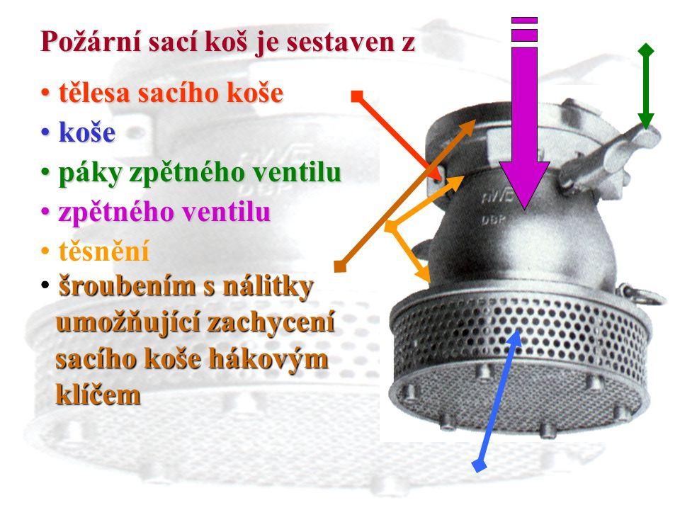 9 Požární sací koš je sestaven z t tělesa sacího koše k koše p páky zpětného ventilu z zpětného ventilu těsnění š šroubením s nálitky umožňující zachy