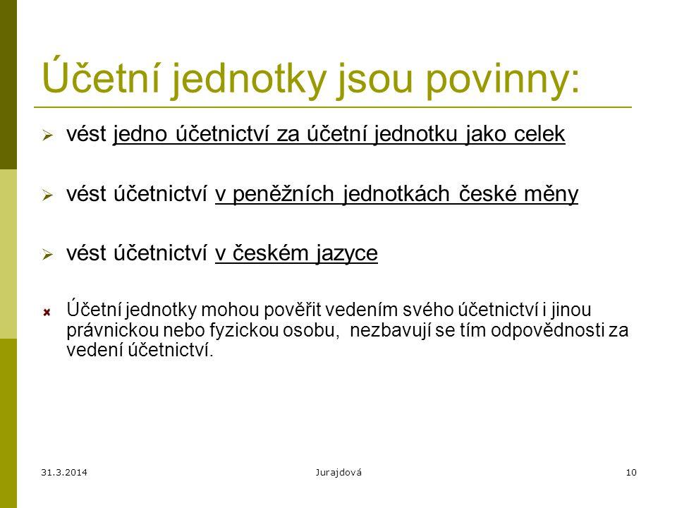 31.3.2014Jurajdová10 Účetní jednotky jsou povinny:  vést jedno účetnictví za účetní jednotku jako celek  vést účetnictví v peněžních jednotkách české měny  vést účetnictví v českém jazyce Účetní jednotky mohou pověřit vedením svého účetnictví i jinou právnickou nebo fyzickou osobu, nezbavují se tím odpovědnosti za vedení účetnictví.