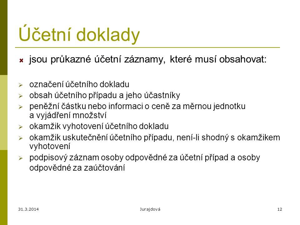 31.3.2014Jurajdová12 Účetní doklady jsou průkazné účetní záznamy, které musí obsahovat:  označení účetního dokladu  obsah účetního případu a jeho úč