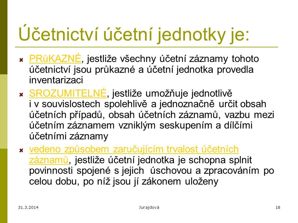 31.3.2014Jurajdová18 Účetnictví účetní jednotky je: PRůKAZNÉ, jestliže všechny účetní záznamy tohoto účetnictví jsou průkazné a účetní jednotka proved