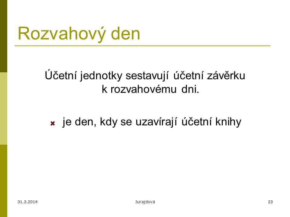 31.3.2014Jurajdová23 Rozvahový den Účetní jednotky sestavují účetní závěrku k rozvahovému dni. je den, kdy se uzavírají účetní knihy